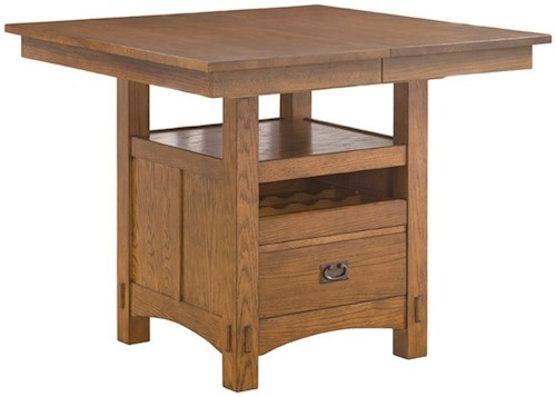 Intercon Oak Park Gathering Height Kitchen Island Style Table With Storage And Leaf Wayside