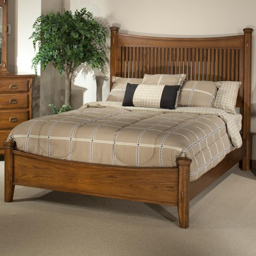 Intercon pasadena revival queen panel bed with mission style slat detail colder 39 s furniture for Queen mission style bedroom set