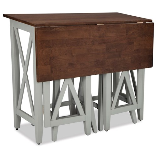 Intercon small space two tone drop leaf breakfast bar for Tall dining tables small spaces