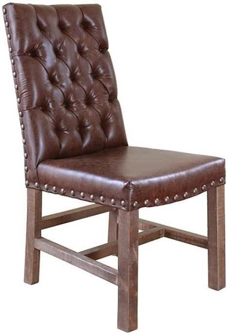 Artisan home parota faux leather chair with tufted back for Tufted leather dining room chairs