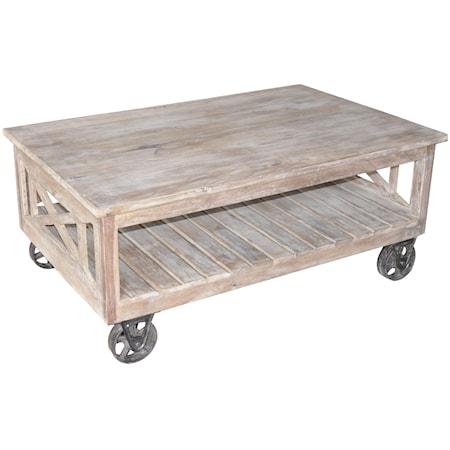Reclaimed Wood Wheeled Coffee Table