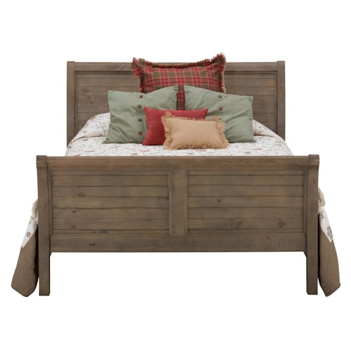 Jofran slater mill pine queen size sleigh bed boulevard home furnishings sleigh beds Home furniture queen size bed