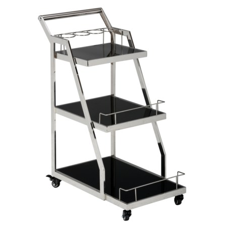 Drink Cart with Black Glass Shelves