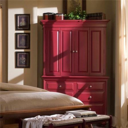 Traditional 6 Drawer Armoire with Bi-fold Doors