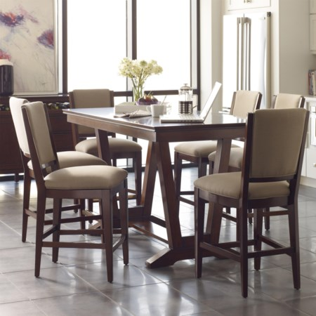 Seven Piece Counter Height Dining Set with Upholstered Stools