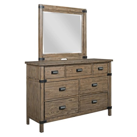 Rustic Weathered Gray Bureau and Mirror Set