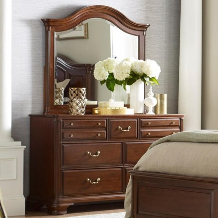 Traditional Bureau and Arched Mirror Set