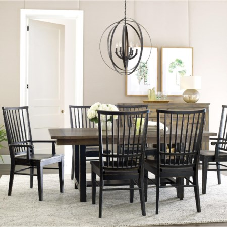 Dining Table and Chair Set for 6