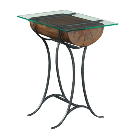 Rustic Log Chairside Table with Tempered Glass Top