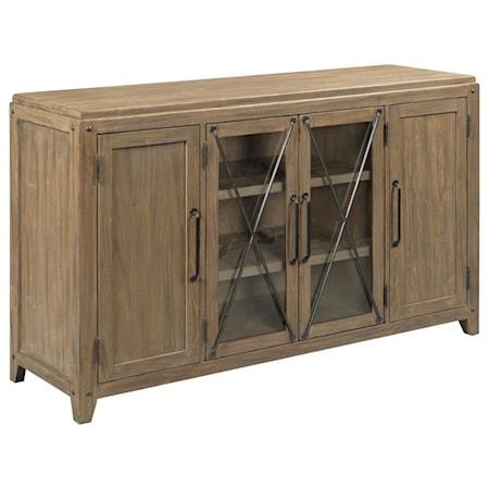 Dawson 4-Door Solid Wood Server with Glass Doors and Metal Trim