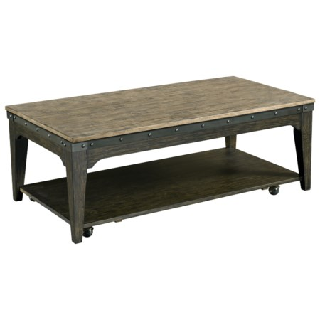 Artisans Rectangular Solid Wood Cocktail Table with Hidden Casters