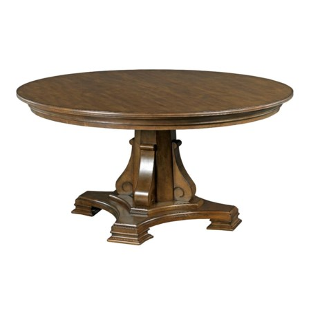 """Stellia 60"""" Round Solid Wood Dining Table with Carved Wood Pedestal Base"""