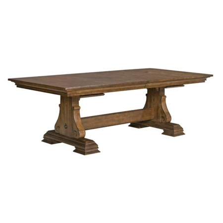 Solid Wood Trestle Table with Two Extension Leaves