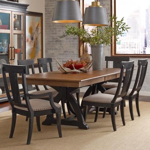 Kincaid Furniture Stone Ridge Seven Piece Dining Set With Rectangular Table And Black Painted
