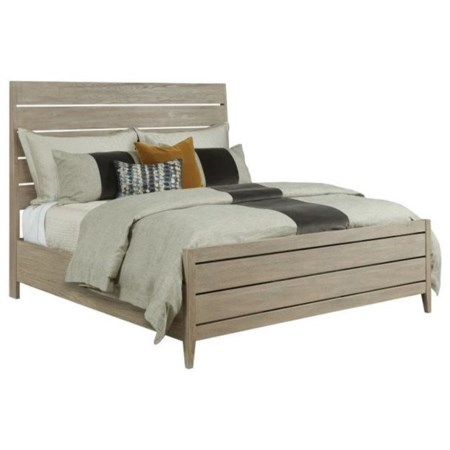 Contemporary Incline Solid Wood Oak King Platform Bed