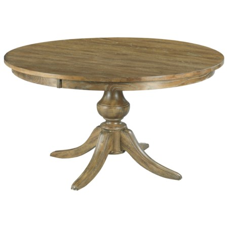 """44"""" Round Solid Wood Dining Table with Wood Pedestal Base"""