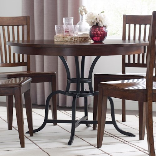 kincaid furniture the nook 44 round solid wood dining table with rustic metal base stuckey. Black Bedroom Furniture Sets. Home Design Ideas