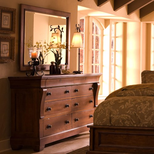 Kincaid Furniture Tuscano 8 Drawer Dresser With Landscape Mirror Wayside Furniture Dresser