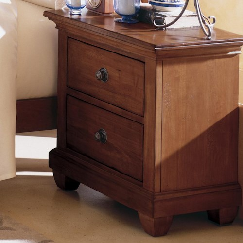 kincaid furniture tuscano 2 drawer night stand with wood top wayside furniture night stands. Black Bedroom Furniture Sets. Home Design Ideas