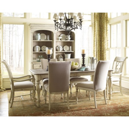 7 Piece Dining Set with Canterbury Table and Upholstered Chairs
