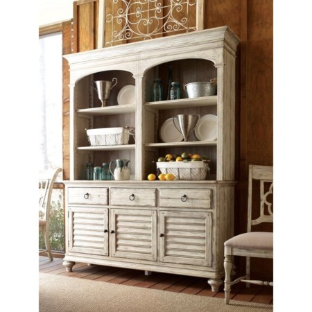 Hastings Open Hutch and Buffet with Adjustable Shelves