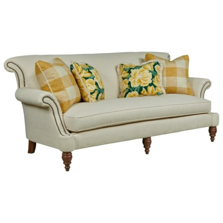 Traditional Sofa with Bench Seat and Scrolled Arms with Nailheads