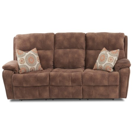 Casual Power Reclining Sofa with Nails, Power Headrests, USB Charging Ports, Toss Pillows