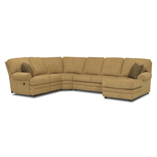 Klaussner belleview reclining sectional with right side for Sectional sofa with right side chaise