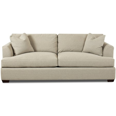 Contemporary Innerspring Sleeper Sofa with Flared Track Arms