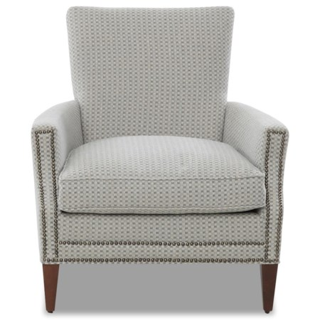 Chair with Nailhead Trim and Down Blend Seat Cushion