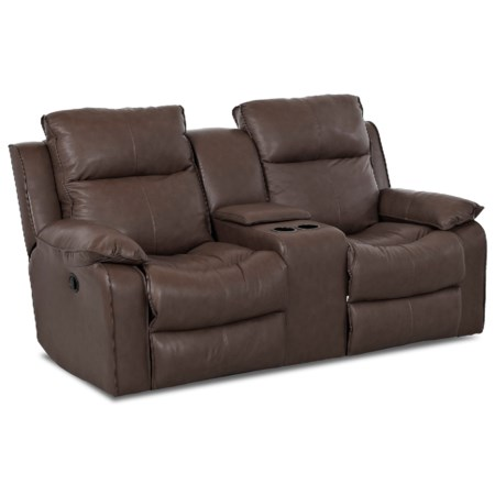 Casual Console Reclining Loveseat with Storage and Cupholders