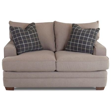 Casual Loveseat with Square Track Arms