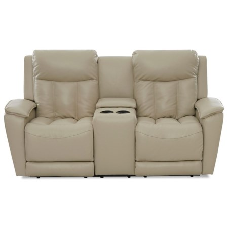 Contemporary Power Reclining Console Loveseat with Power Headrests / Lumbar
