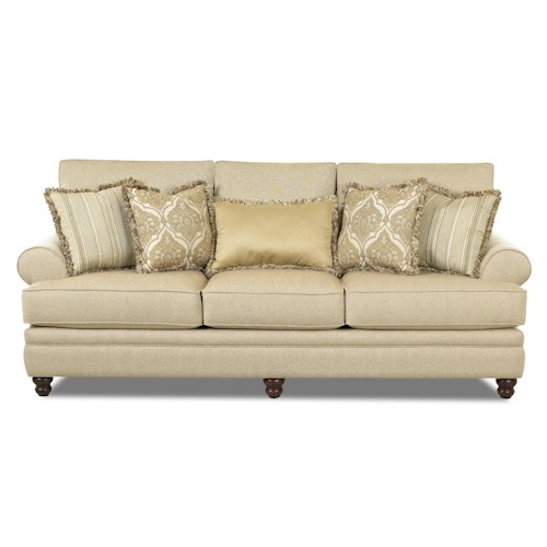 Klaussner darcy rolled arm sofa with accent pillows for Stratford home pillows living room furniture