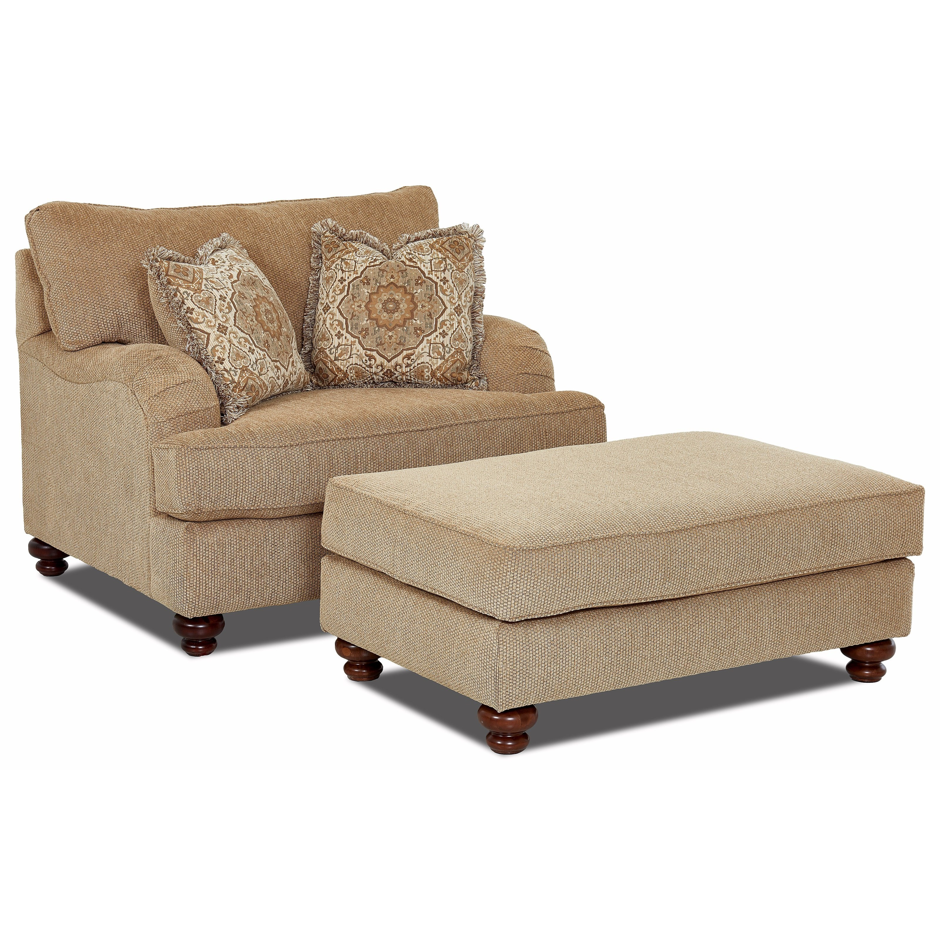 Klaussner Declan Oversized Chair and Ottoman Set - Pilgrim Furniture City - Chair u0026 Ottoman Sets