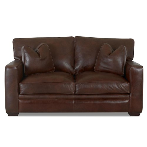 Klaussner homestead leather loveseat value city for City furniture in homestead