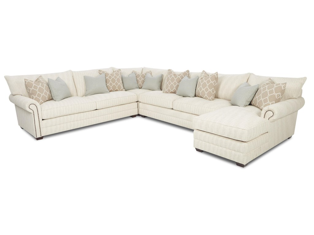 Sectional sofa with nailhead trim elliston place huntley for Traditional sectional