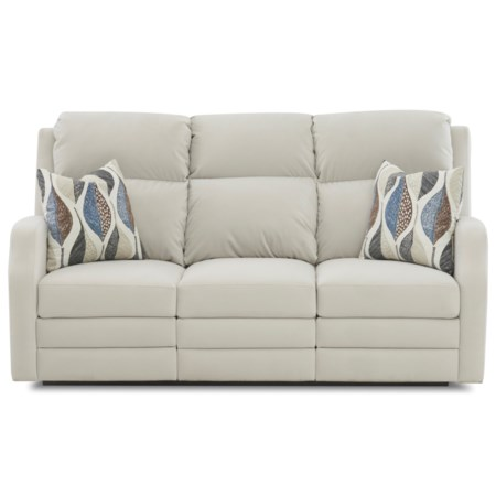 77 Inch Power Reclining Sofa with USB Charging Ports and Pillows