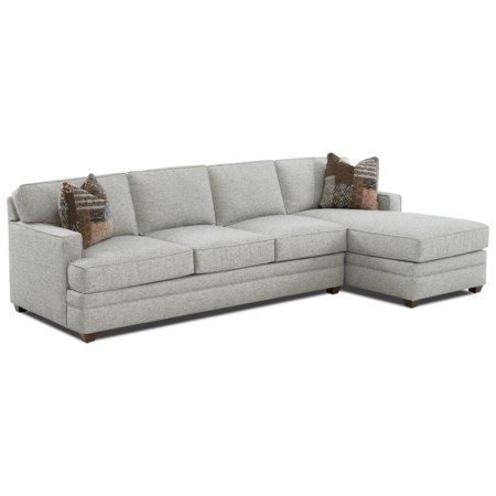 Contemporary 2-Piece Track Arm Sectional with Right-Facing Chaise