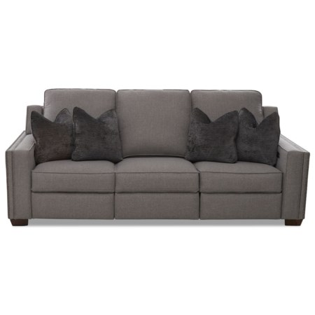 Power Hybrid Sofa w/ Nailheads and Pwr Headrests