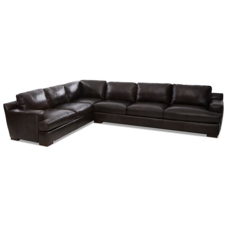 Contemporary 5-Seat Leather Sectional Sofa with RAF Sofa