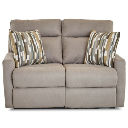 Reclining Loveseat with Track Arms and Pillows