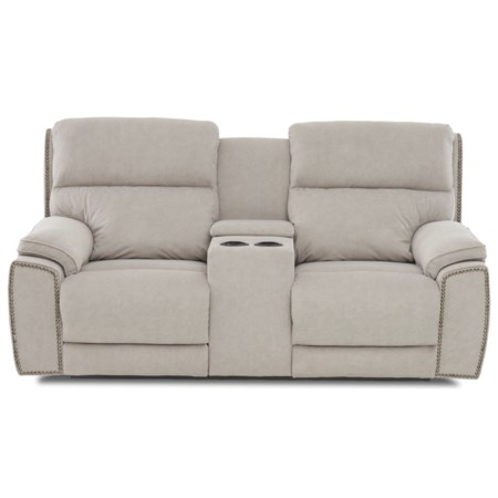 Power Reclining Nailhead Loveseat with Cupholder Storage Console and USB Charging Ports