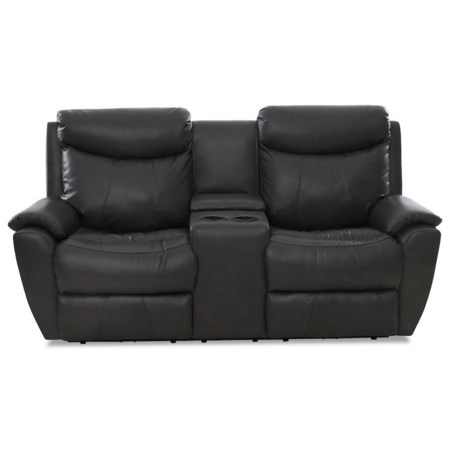 Casual Power Console Reclining Loveseat with Cupholders and Kool Gel Cushions