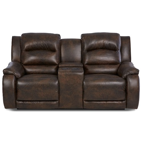 Klaussner Reuben Reclining Console Loveseat With Power