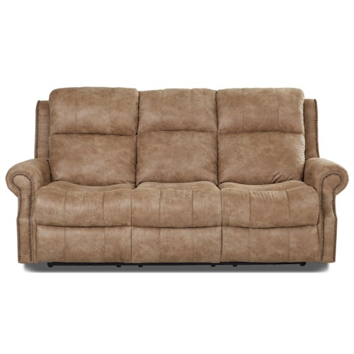 Klaussner Vivio Traditional Power Reclining Sofa With Nailheads And Power Til