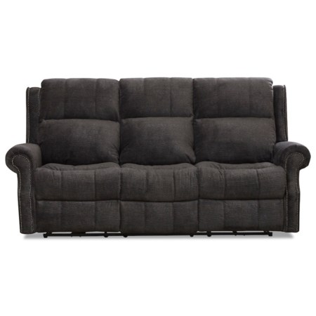 Traditional Power Reclining Sofa with Nailheads and Power Tilt Headrest and Lumbar Support