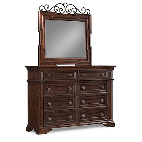 Klaussner International San Marcos 8 Drawer Dresser And Mirror Set Pilgrim Furniture City