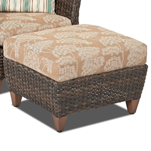 Klaussner outdoor sycamore outdoor ottoman with drainable for Sycamore interior designs