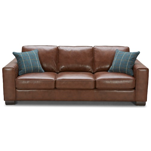 Kuka home mitchell contemporary leather sofa with accent for Kuka sectional leather sofa